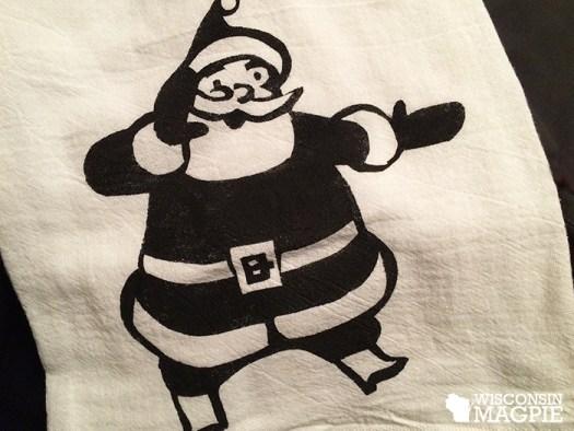 vintage Santa stenciled on dish towel