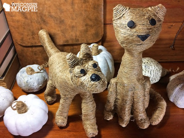 twine-wrapped dog and cat