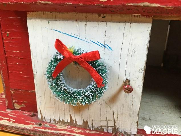 miniature winter barn scene