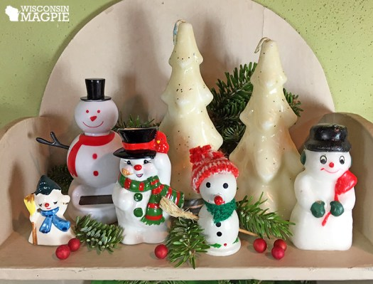 snowmen and Gurley candle Christmas tree