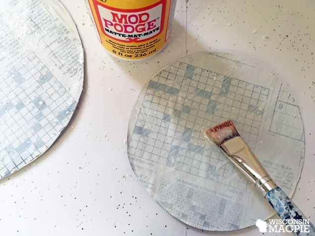 Making a snow globe out of an embroidery hoop by Wisconsin Magpie