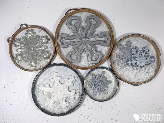 Making snow globes out of embroidery hoops by Wisconsin Magpie