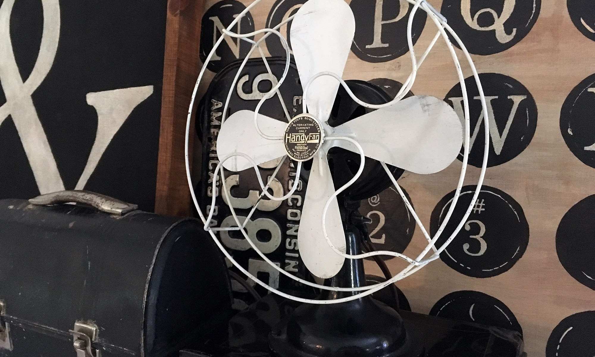 vintage fan, lunchbox, typography and metal box