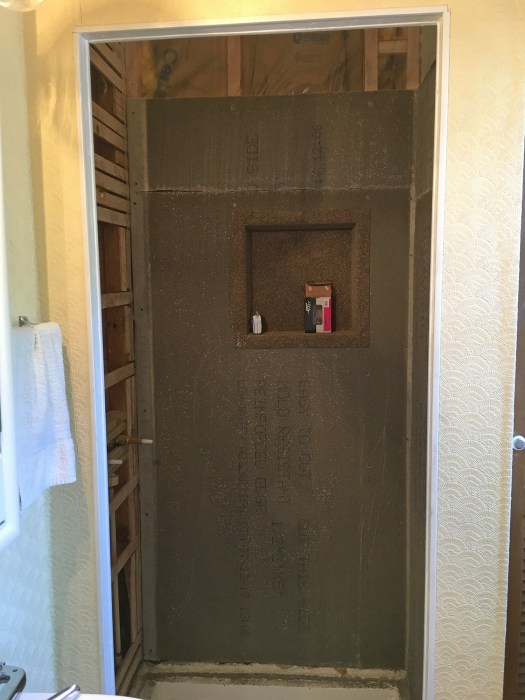 concrete backerboard inside shower stall