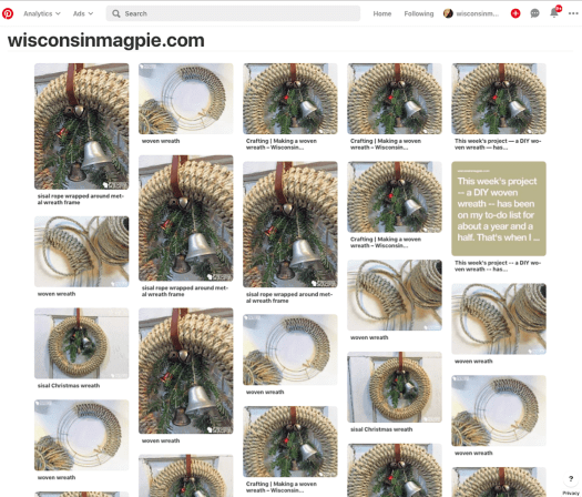 Screen shot of wisconsinmagpie.com Pinterest pins showing pictures of woven sisal rope wreath