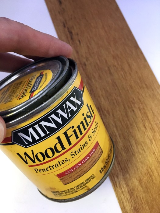 Balsa wood stained in Minwax Golden Oak for hardware organizer drawer fronts