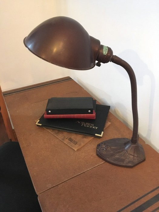 vintage desk lamp on typewriter table with sides unfolded