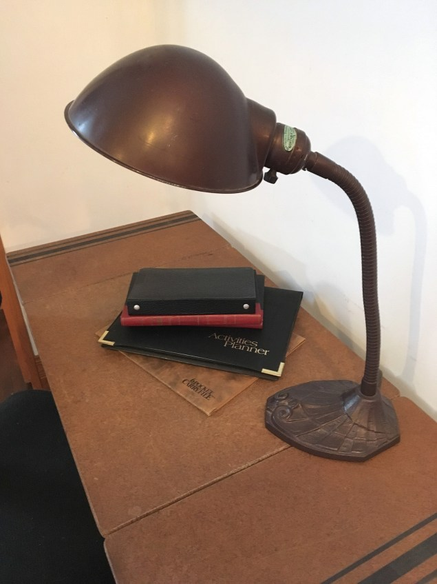 vintage desk lamp on typewriter table with sides unfolded