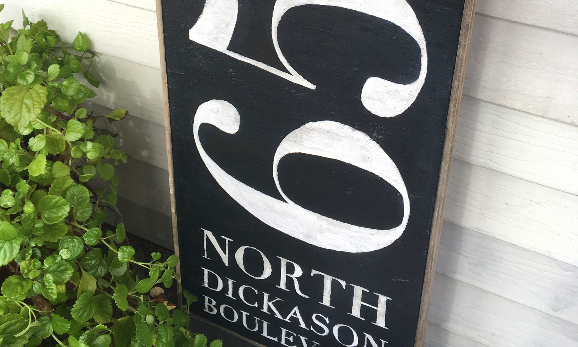Handmade black and white wooden home address sign painted with chalk paint