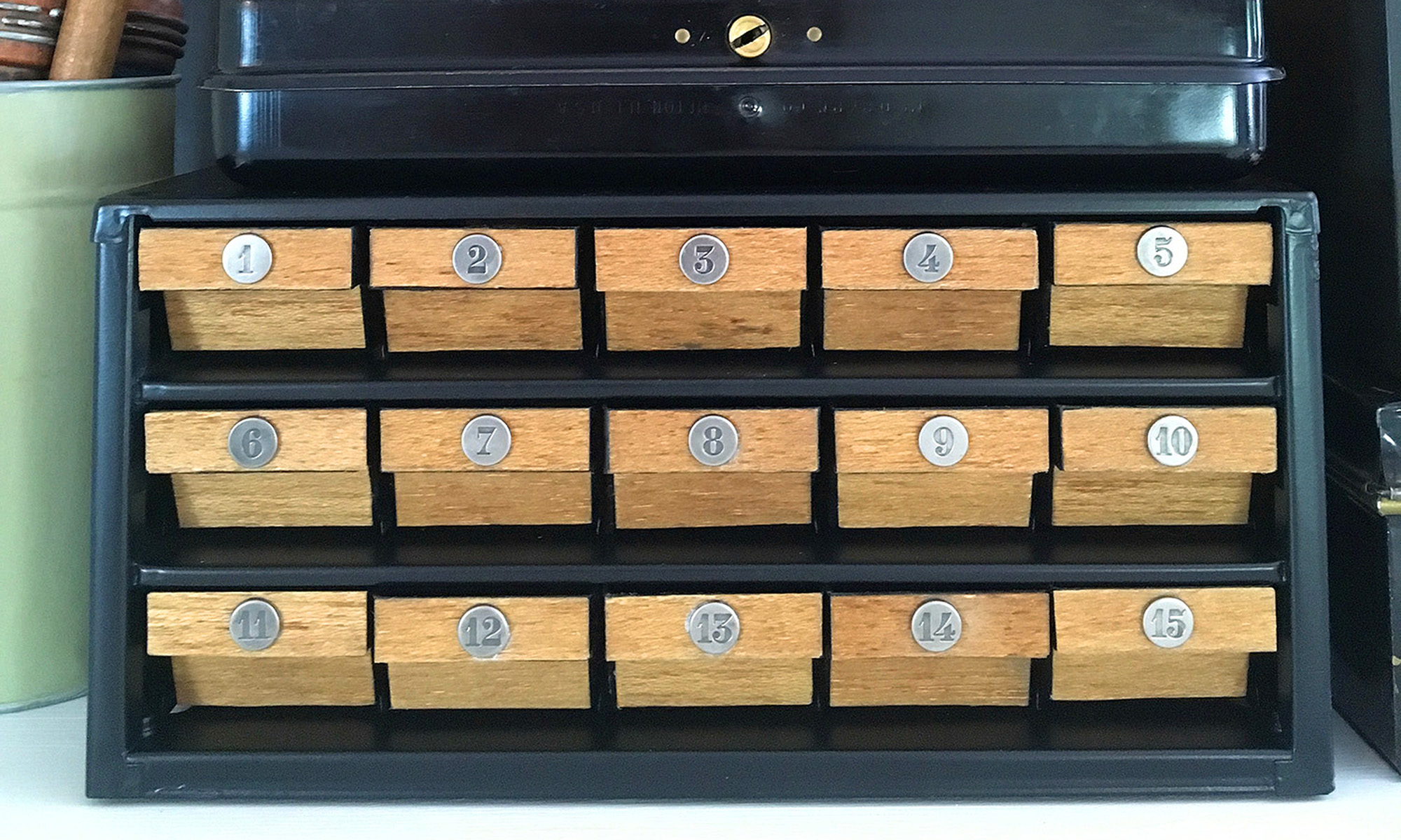 numbered hardware organizer drawers