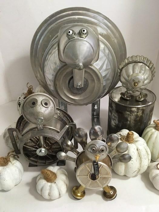 junk turkeys and white pumpkins