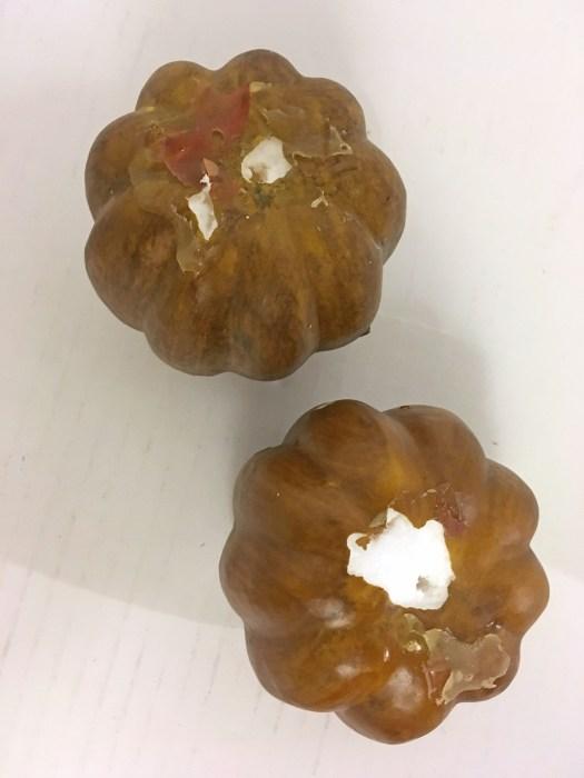 Small Styrofoam Pumpkins Before Makeover