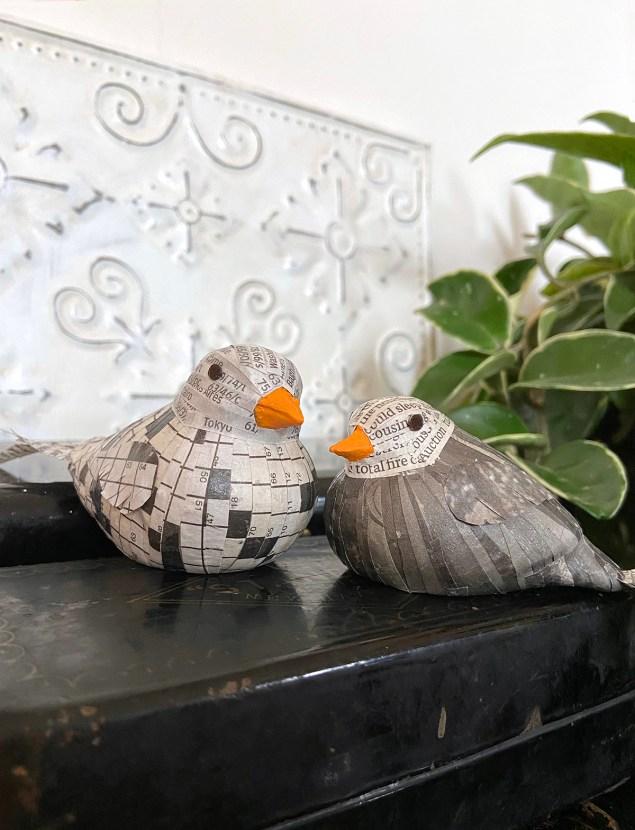 decoupaged newspaper birds