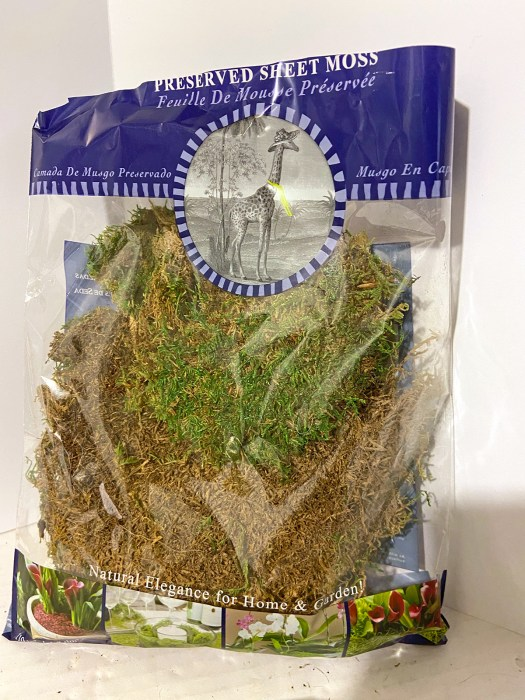 open bag of browned sheet moss