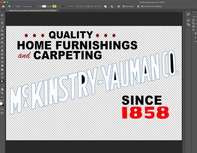 screenshot of Photoshop document showing McKinstry-Yauman Co. advertising sign