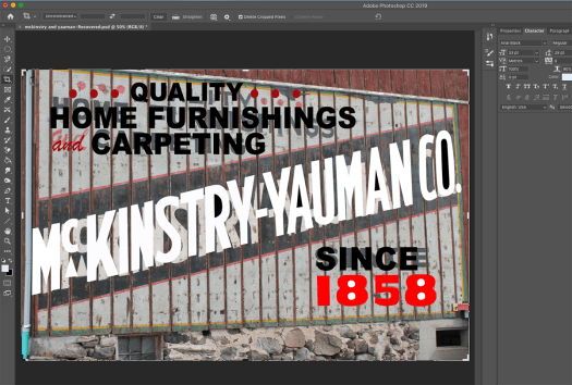 screenshot of Photoshop document of McKinstry-Yauman Co. lettering overlaying a photo of the mural on a barn