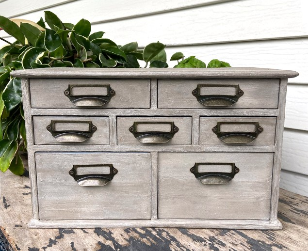 small industrial style apothecary cabinet