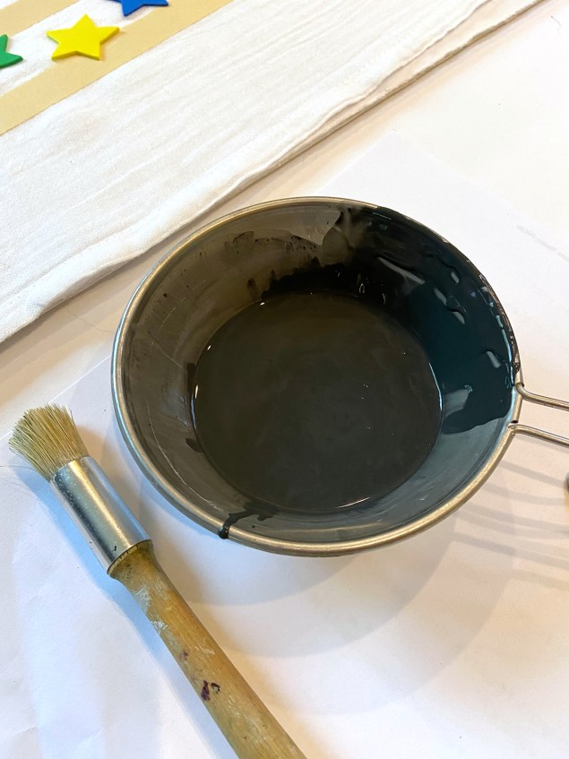 watered down chalk paint for painting on fabric