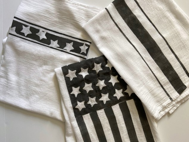 three chalk paint on fabric patriotic dishtowels