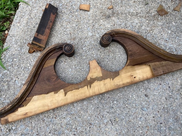 salvaged furniture pediment before the makeover