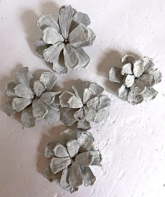 DIY white pinecone flowers