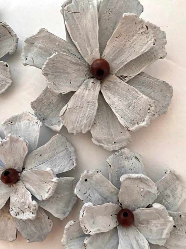 Closeup of DIY pinecone flowers