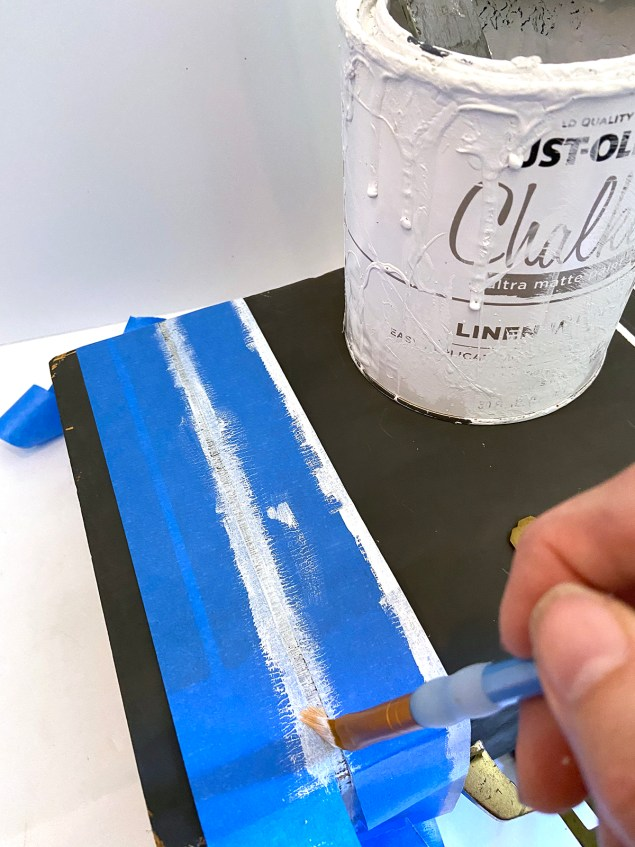 painting white grain sack stripes on black box