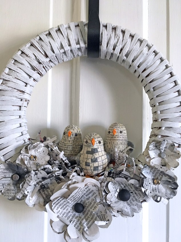 Newspaper chicks wreath handmade by Wisconsin Magpie