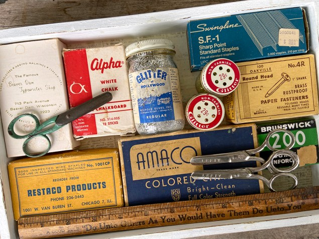 Collected castoffs: vintage school supplies and art supplies