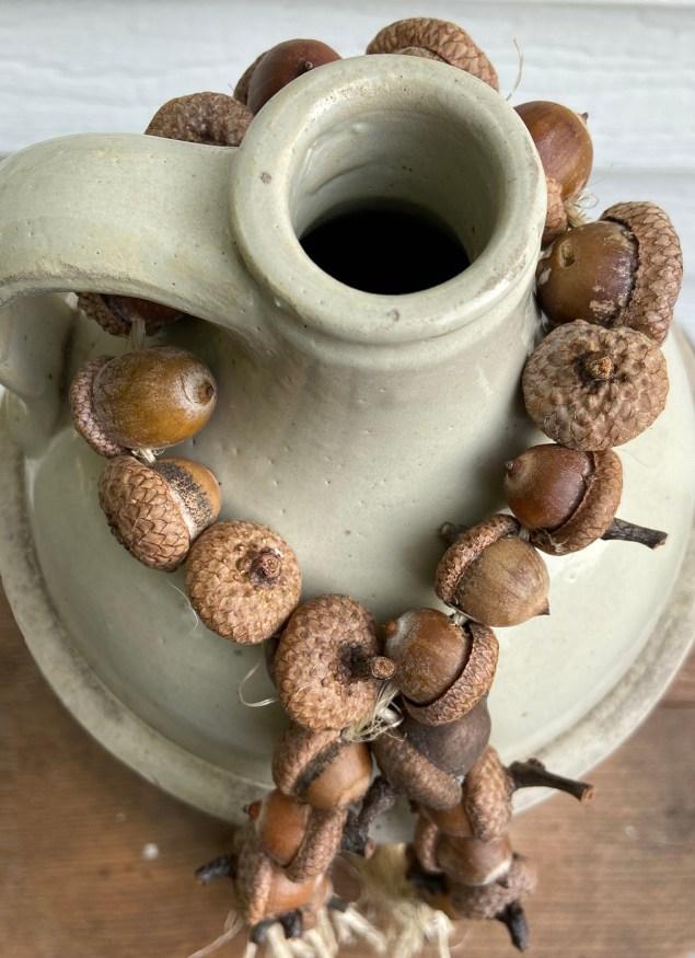 acorn garland on vintage jug