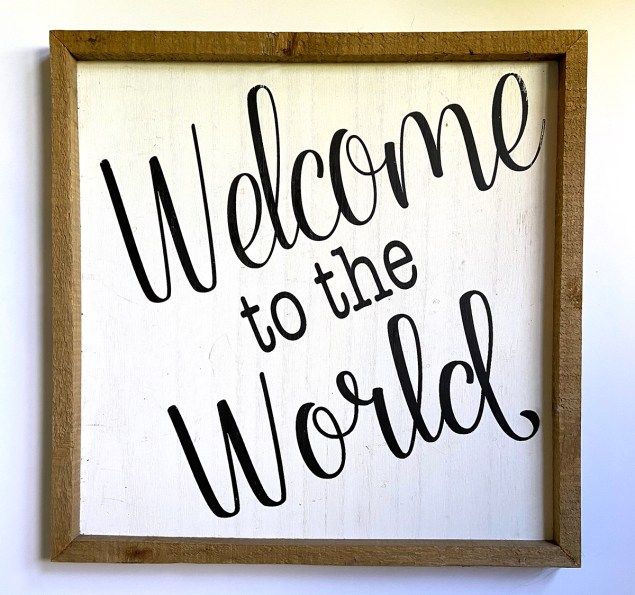 Welcome to the World wood sign