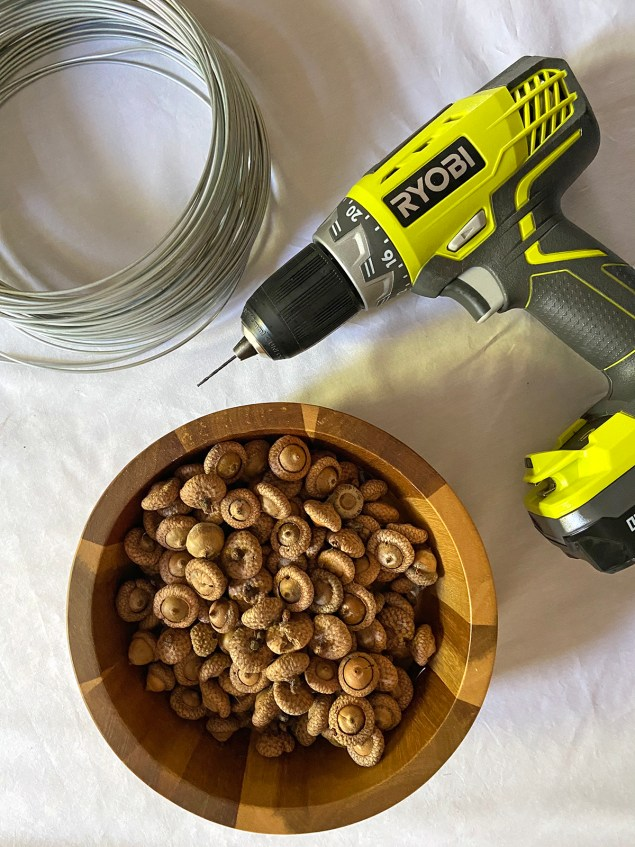 sturdy wire, drill and a bowl full of acorns