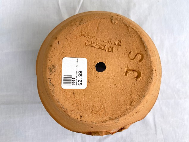 """Craven Pottery, Inc., Commerce, CA"" stamp on the bottom of terra cotta pumpkin"
