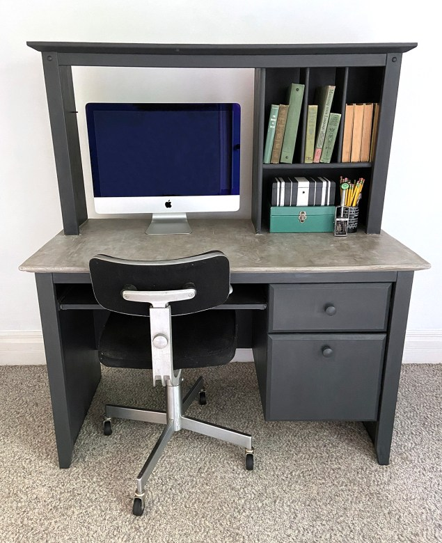 black desk with concrete top, after makeover