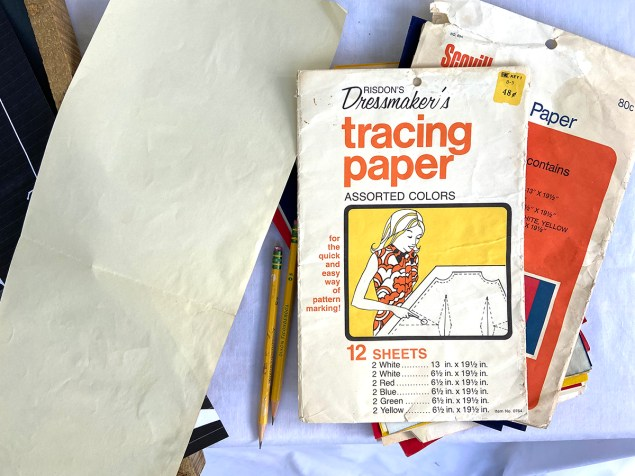 vintage tracing paper in assorted colors