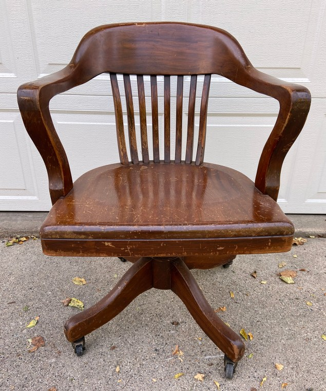 vintage desk chair made by the B.L. Marble Chair Co. of Bedford, Ohio