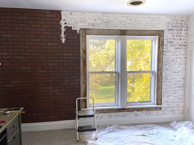 applying a German schmear to the faux brick wall panels