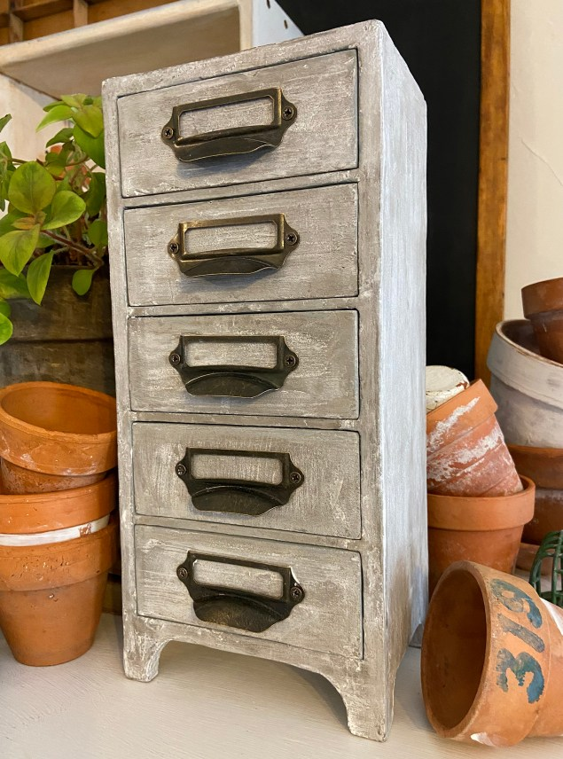 concrete apothecary cabinet makeover