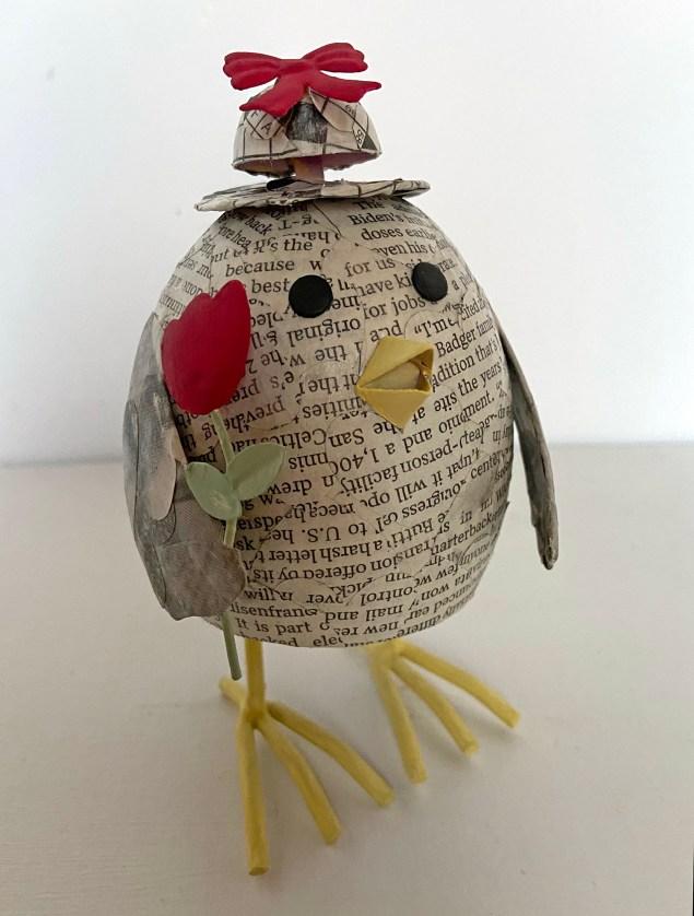 newspaper decoupage chick