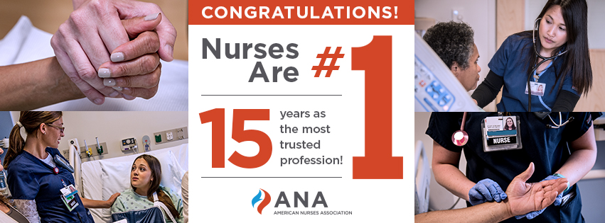 Nurses are #1 for the 15th year in a row