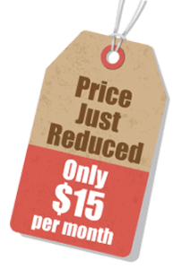 Price tag - Price Just Reduced - Only $15 per month