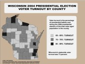 Voter turnout for election 2004 by county