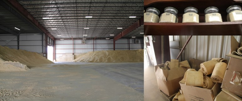 Clockwise from left: Piles of sand wait to be washed and sorted by size at Superior Silica in New Auburn; grades of sand on display at the plant; dust filters used in an elaborate filtration system to keep air emissions down.