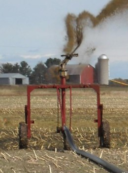Another form of manure irrigation involves using a single nozzle system such as this one. Courtesy of Wisconsin Department of Natural Resources