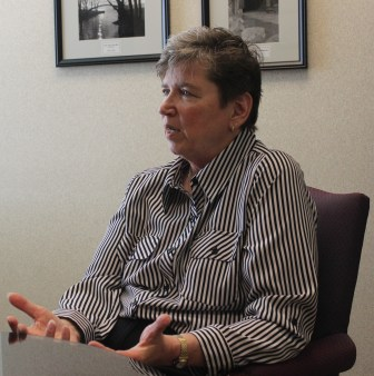 """University of Wisconsin-Whitewater Dean of Students Mary Beth Mackin discusses discipline and suspension on campus. She says drug convictions that can cause students to lose financial aid are  """"a huge penalty."""" Photo shot July 1, 2014, UW-Whitewater."""