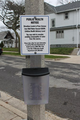 Milwaukee posted this warning about high strontium levels in spring 2015 on the popular public well where residents fill up drinking water jugs in the city's Bay View neighborhood. The U.S. Environmental Protection Agency is considering regulation of this naturally occurring metal, which is found in the highest concentrations nationwide in southeast Wisconsin. Consumption of strontium can lead to bone and tooth problems in children.