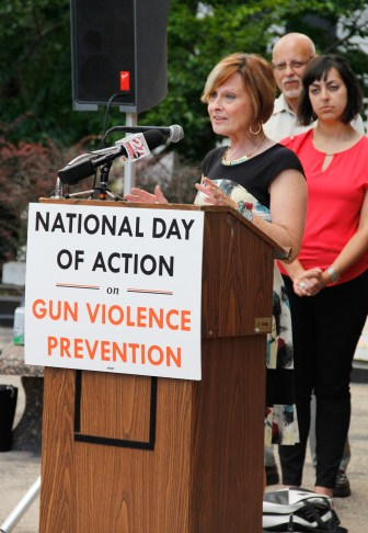 State Rep. Terese Berceau, D-Madison, speaks at the National Day of Action on Gun Violence Prevention rally in Madison on June 29.