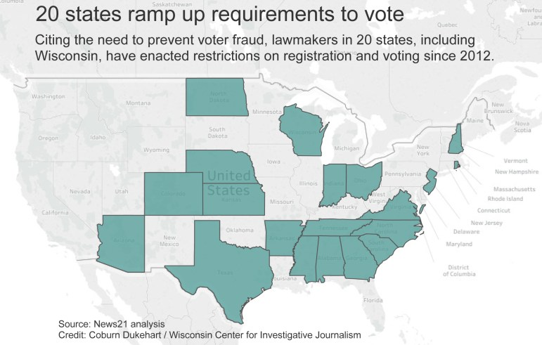Click on the map for an interactive version that shows the requirements, by state.