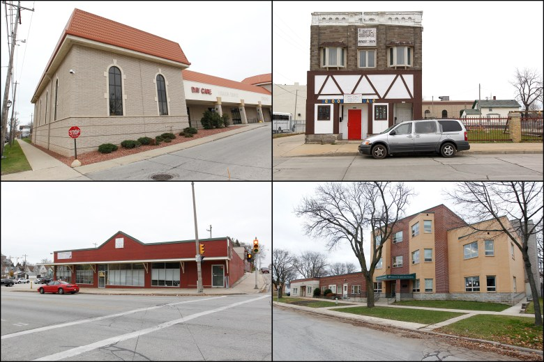 A selection of the nearly 400 day care centers and private schools in the Milwaukee area with lead service lines targeted for replacement. Clockwise from left: Open Hands Child Development Center, 1818 W. National Ave.; Young Achiever Learning Center, 1218 W. Walnut St.; Yeshiva Elementary, 5115 W. Keefe Ave.; and 3027 W. Greenfield Ave., which houses multiple day care and early learning programs.