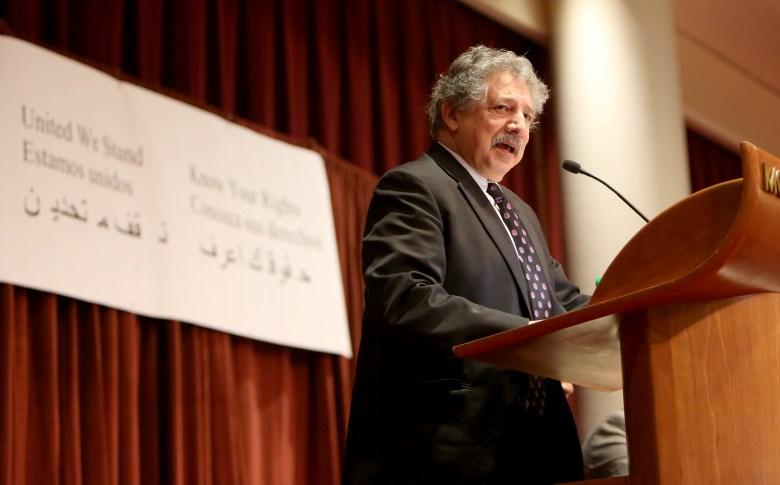 Madison, Wis., Mayor Paul Soglin addresses about 2,000 people at a community immigration forum Jan. 29, 2017. Soglin has vowed that city police officers will not become immigration police for the federal government but will honor detainer requests for undocumented residents who have committed serious crimes.